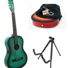 Green Acoustic Guitar + Stand + Case + Strap + Tuner + Pick