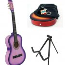 Purple Acoustic Guitar + Stand + Case + Strap + Tuner + Pick