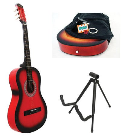 Red Acoustic Guitar + Stand + Case + Strap + Tuner + Pick