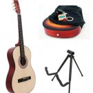 Natural Acoustic Guitar + Stand + Case + Strap + Tuner + Pick