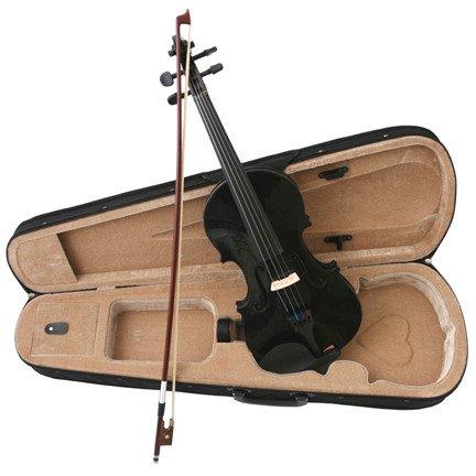Black Acoustic Violin Full Size 4/4 + Bow + Case + Rosin