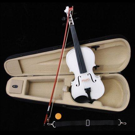 White Acoustic Violin Full Size 4/4 + Bow + Case + Rosin