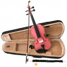 Pink Acoustic Violin Full Size 4/4 + Bow + Case + Rosin