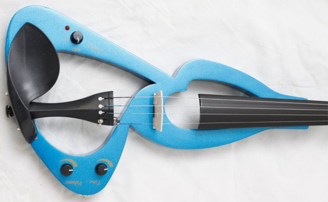 Blue Electric Violin Full Size 4/4 + Bow + Rosin + Bag + Amp Cable + Headphone