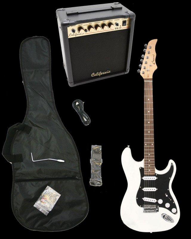 White Electric Guitar + 15w Amp + Gig Bag + Cord + Whammy Bar + Strap + Picks