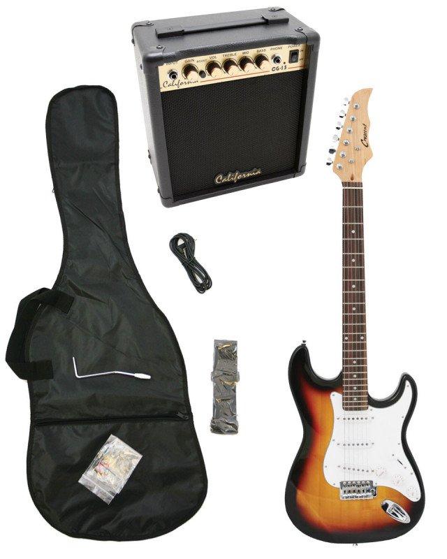Sunburst Electric Guitar + 15w Amp + Gig Bag + Cord + Whammy Bar + Strap + Picks