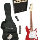 Red Electric Guitar + 15w Amp + Gig Bag + Cord + Whammy Bar + Strap + Picks