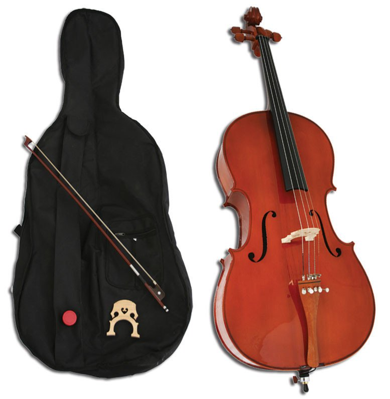 Natural Handmade Cello + Bow + Case + Bridge + Rosin