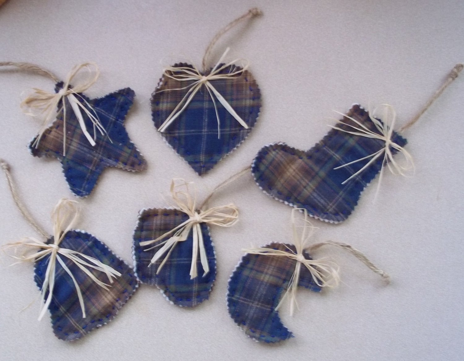 Set of six North Woods Christmas Ornaments blue and brown flannel