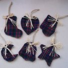 Set of six orth Woods Christmas Ornaments in red and blue wool plaid