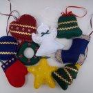 Set of nine handmade felt Christmas ornaments