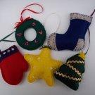 Set of five handmade felt Christmas ornaments