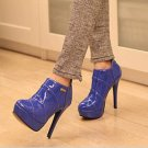 SEXY WOMEN'S ANKLE BOOTS,BLUE PATENT LEATHER