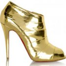 SEXY WOMEN&#39;S GOLD ROBOT ANKLE BOOTS