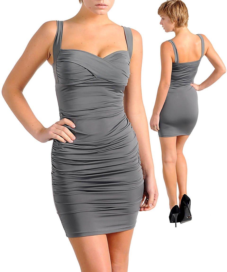 Elegant Gray Padded Bandage Dress