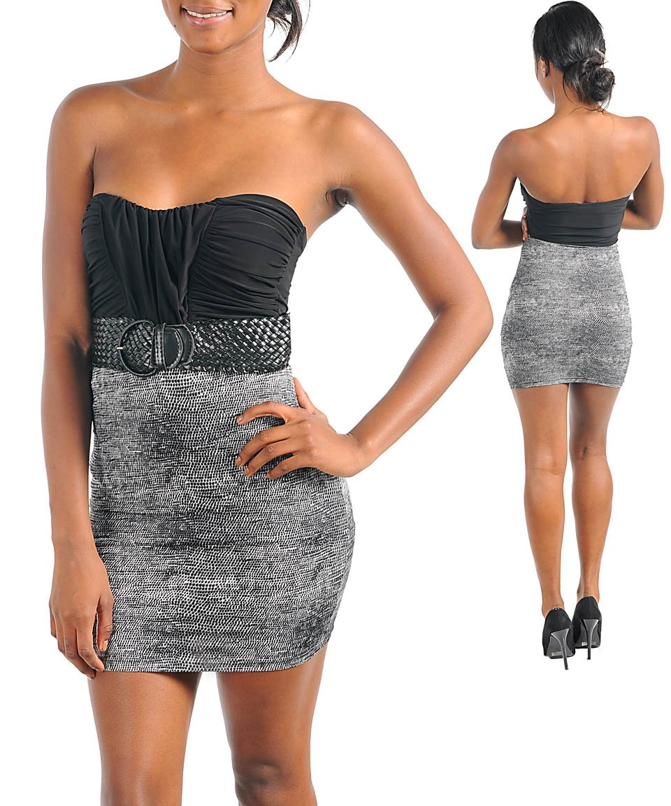 Sexy Black Gray Evening Belted Dress