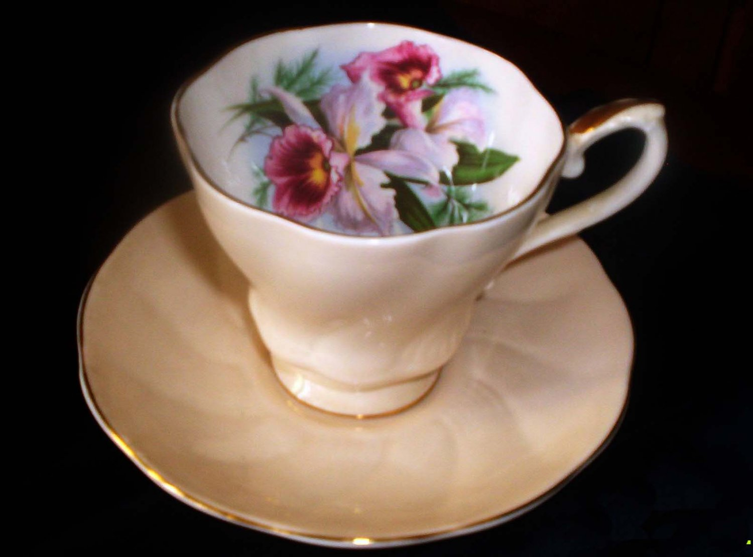 Light Peach teacup and saucer set, Fine china made by Royal Grafton