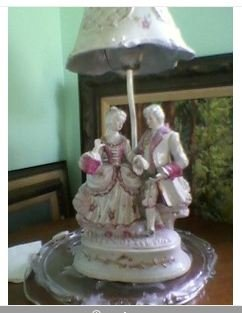 Victorian dancing couple lamp, all ceramic and  it works!