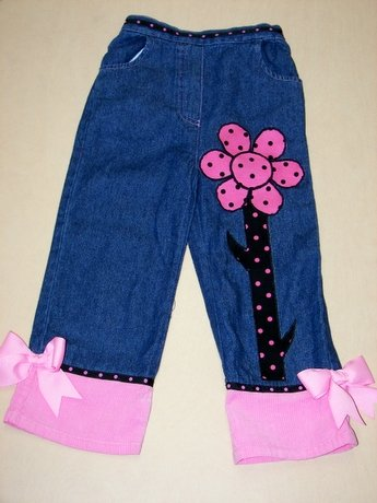 One-Of-A-Kind Custom Boutique Denim Flower Pants Sz 4T