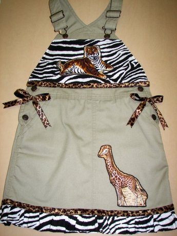 One-Of-A-Kind Custom Boutique Safari-Themed Overalls Sz 6x