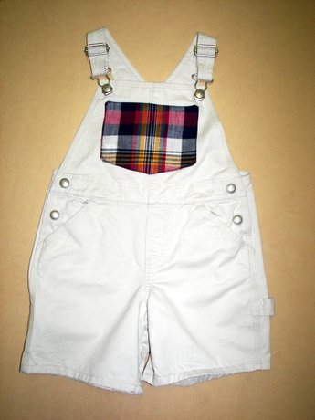 Adorable One-of-a-kind Plaid Shortalls Sz 3T