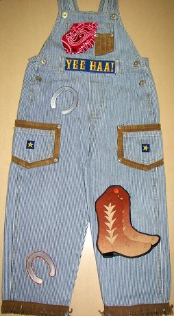 Adorable One-of-a-kind Cowboy Overalls Sz 3T