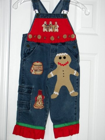 Holiday Edition Gingerbread-Themed Overalls with Hair Bow Sz 3T