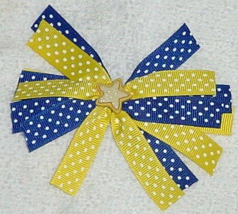 Blue and Yellow Polka Dot Hair Bow