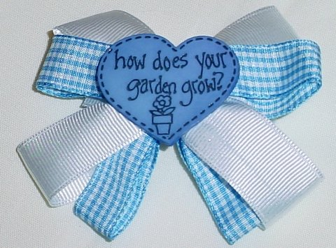 "Blue & White ""How Does Your Garden Grow"" Hair Bow"