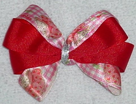 Red Strawberry Shortcake Hair Bow