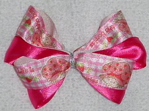 Pink Strawberry Shortcake Hair Bow