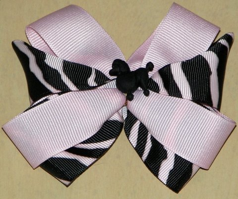 Pink & Black Poodle Hair Bow