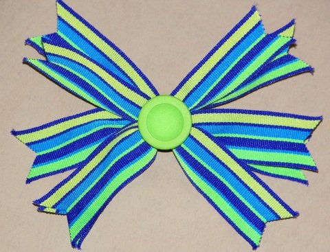 Blue & Lime Green Striped Hair Bow
