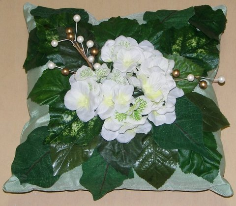 Sea Foam Green Moiré with White Hydrangea Flowers