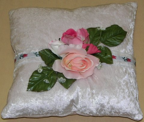 White Crushed Velvet Pillow with Pink Roses
