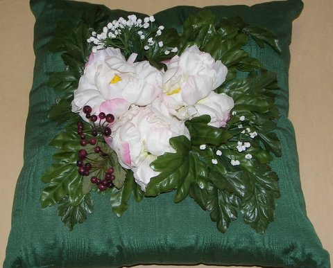 Dark Green Moiré Pillow with Three Peonies