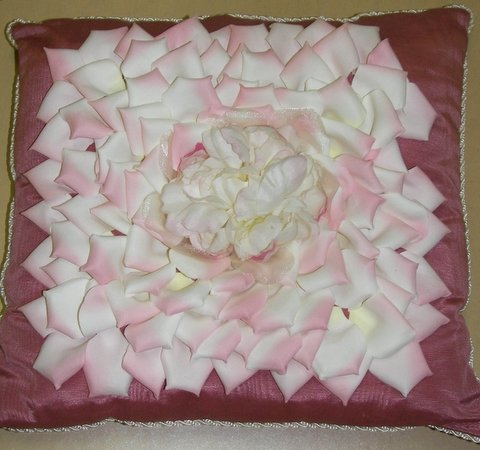 Mauve Moiré Pillow with Light Pink Petals