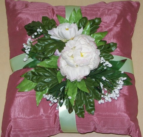 Mauve Moiré Pillow with Large White Peony