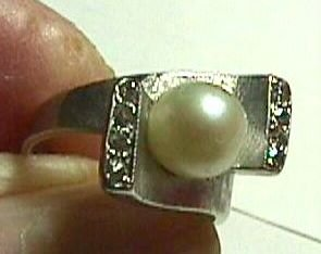 Stunning 1940's White Gold Pearl and Diamond Ring - Estate Piece