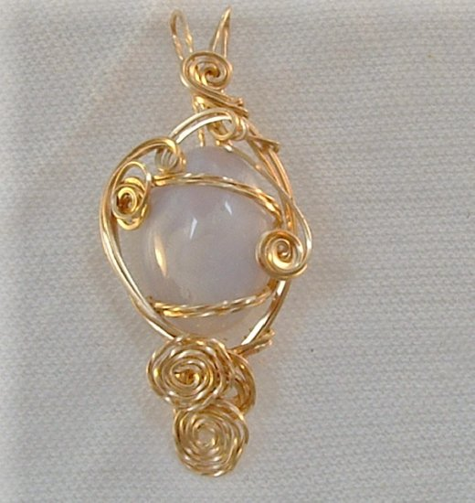Clearance Sale!  Angel's Breath, Blue Lace Agate in 14k Gold Filed wire