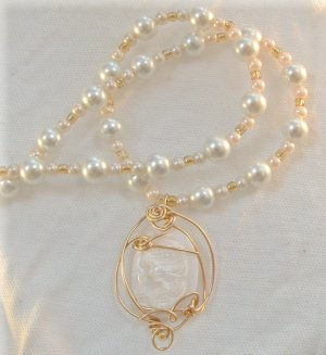 Clearance Sale! Lady Sarah, Mother of Pearl Cameo Necklace