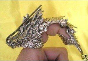 Manual sculpture attractive Tibet silver dragon long nails r