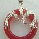 925 silver dragon ring set with turquoise necklace pendant A19