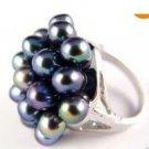 Elegant natural black pearl ring 7.8.9. 10 (A22)