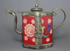 """China's old China manual hidden silver dragon pot hang """"happiness"""" upside down flowers (A29)"""