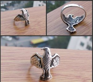 Charming Tibet the silver eagle ring (A37)