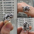 Carving delicate a leopard Tibet silver rings (B3)