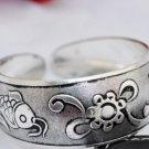Elegant Tibet silver bracelet carved fish (B4)