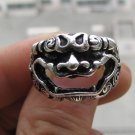 Elegant Tibet silver dragon carving open male ring (B-9)