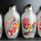 4 pieces of China's two opposite hand painted glass snuff box (lovely child)